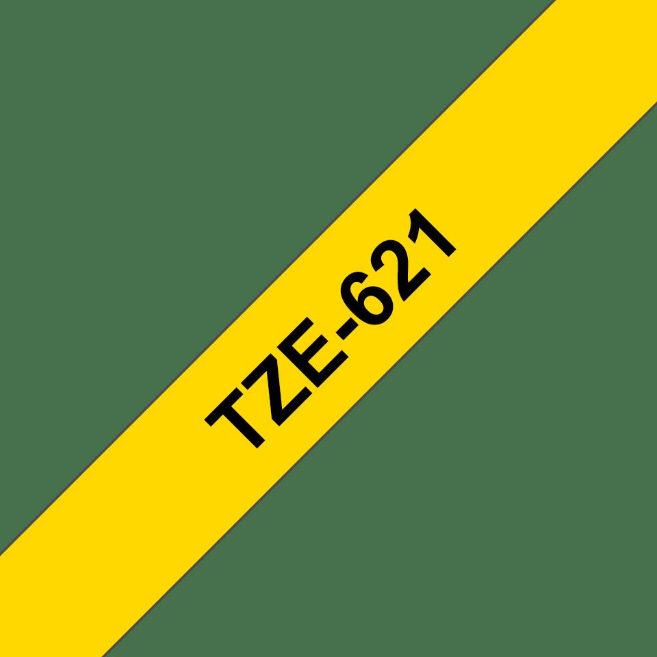 Originele Brother TZe-621 label tapecassette – zwart op geel, breedte 9 mm