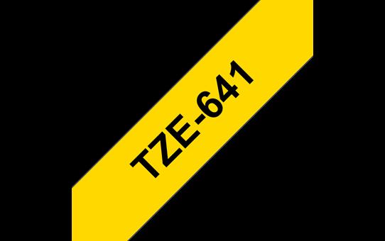 Original Brother TZe641 merketape – sort på gul, 18 mm bred