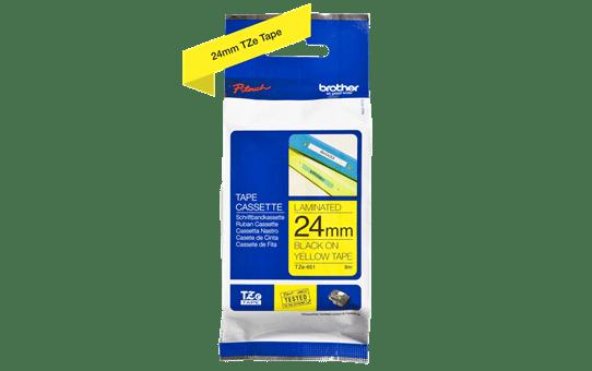 Brother TZe-651 - черен текст на жълта ламинирана лента, ширина 24mm 3
