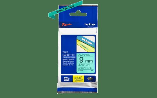 Original Brother TZe721 tape – sort på grøn, 9 mm bred 3