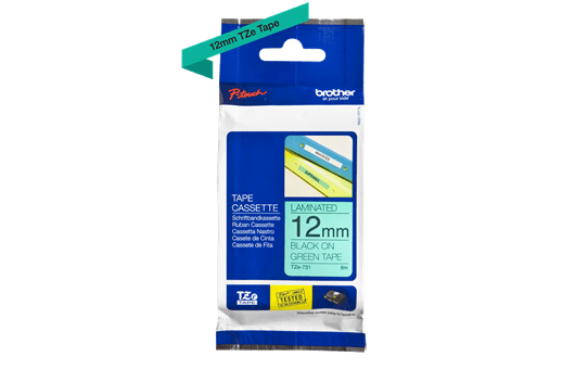 Genuine  Brother TZe-731 Labelling Tape Cassette – Black on Green, 12mm wide 3