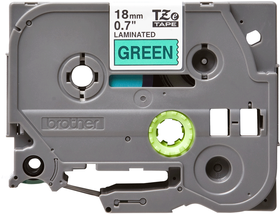 Genuine Brother TZe-741 Labelling Tape Cassette – Black on Green, 18mm wide 2