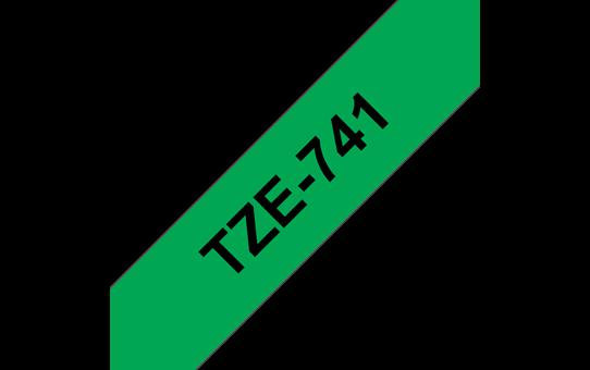 Original Brother TZe741 merketape – sort på grønn, 18 mm bred