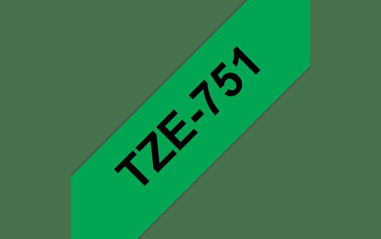 Original Brother TZe751 merketape – sort på grønn, 24 mm bred