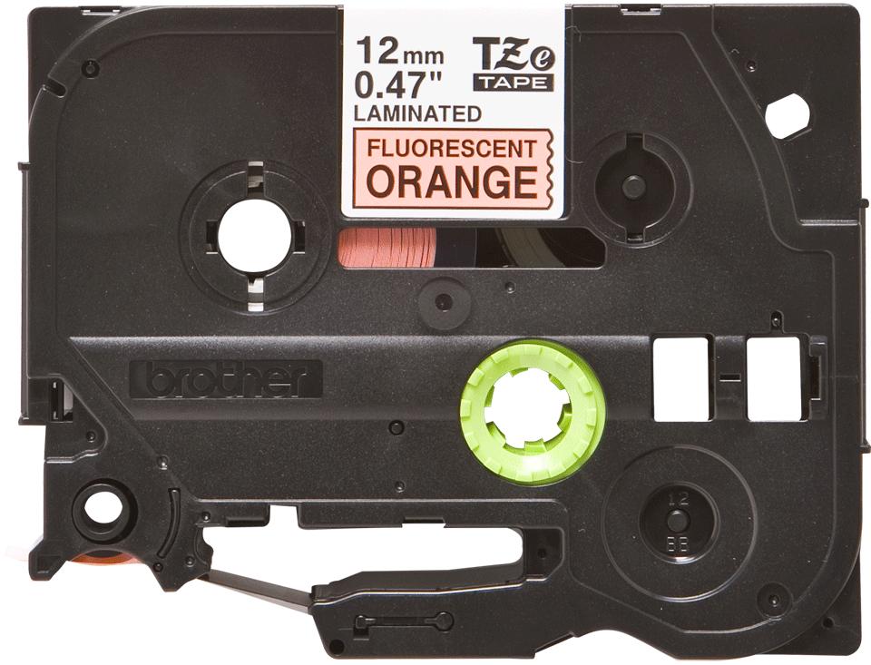 Brother TZe-B31 original etikettape - svart på fluorescerande orange laminerad, 12 mm bred
