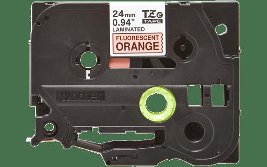 Originální kazeta s páskou Brother TZe-B51 - černý tisk na fluorescenční oranžové, šířka 24 mm 2