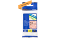 24mm black on fluorescent  orange standard adhesive laminated TZe tape cassette (5 metres) 2