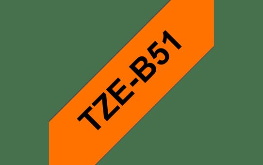 Cassette à ruban pour étiqueteuse TZe-B51 Brother originale – Orange fluorescent, 24mm de large