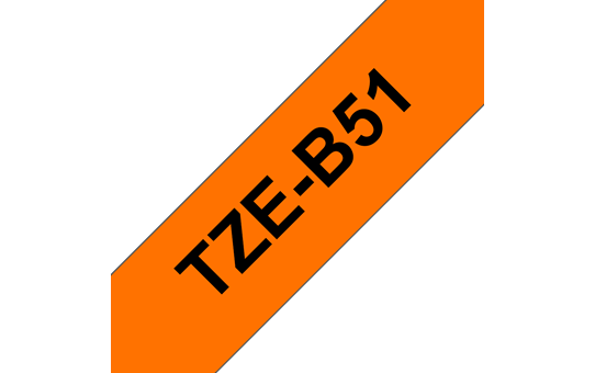 Genuine Brother TZe-B51 Labelling Tape Cassette – Black on Fluorescent Orange, 24mm wide