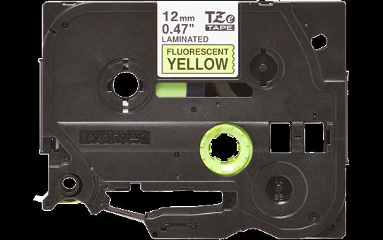 Casetă cu bandă de etichete originală Brother TZe-C31 – negru pe galben fluorescent, lățime de 12mm 2