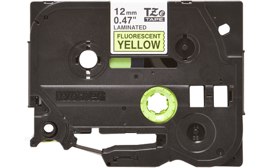 Brother TZeC31 original etikettape, svart på fluorescerande gul, 12 mm