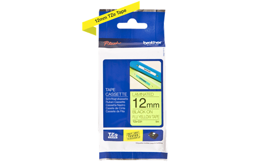 Cassette à ruban pour étiqueteuse TZe-C31 Brother originale – Jaune fluorescent, 12 mm de large 3
