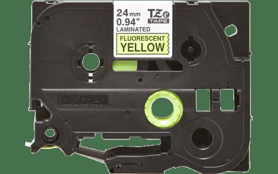 Casetă cu bandă de etichete originală Brother TZe-C51 – negru pe galben fluorescent, lățime de 24mm 2