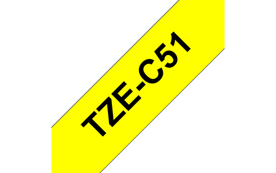 Original Brother TZeC51 merketape – sort på fluorescerende gul, 24 mm bred
