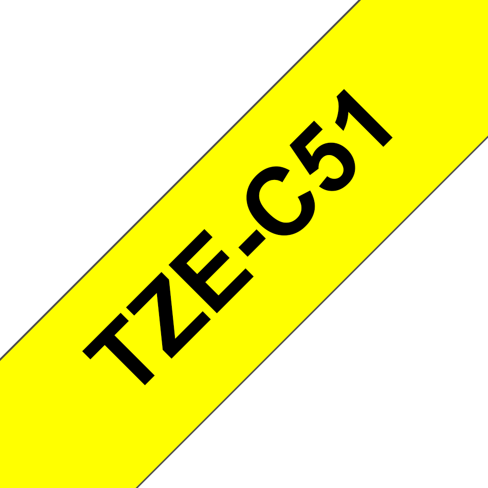 Genuine Brother TZe-C51 Labelling Tape Cassette – Black on Fluorescent Yellow, 24mm wide