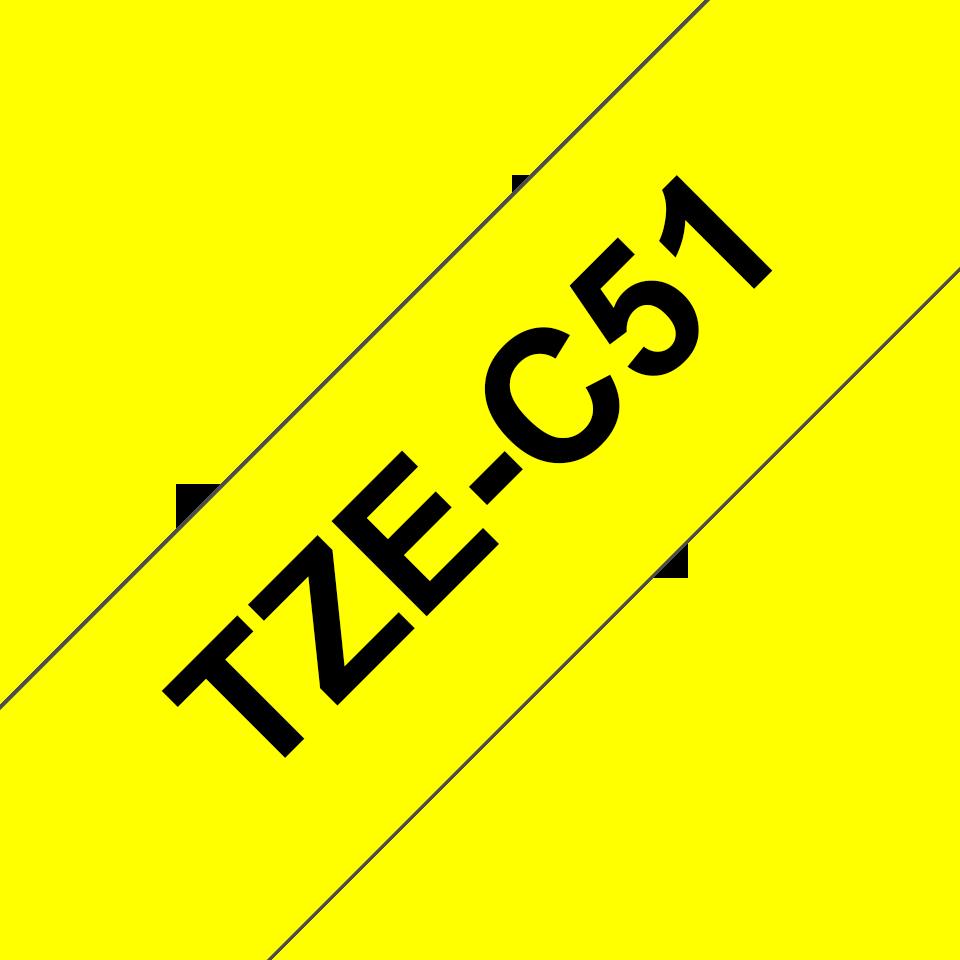 Brother P-touch TZeC51 sort på fluoriserende gul 24 mm bred merketape