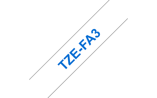 Brother original TZeFA3 tekstiltape - blå på hvit, 12 mm bred