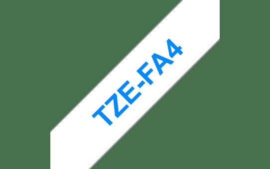 Brother original TZeFA4 tygtape - blå på vit, 18 mm bred 3