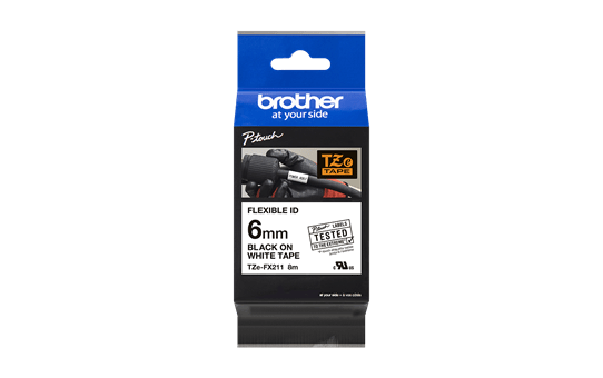 Genuine Brother TZe-FX211 Labelling Tape Cassette – Black on White, 6mm wide 3