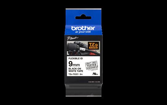 Brother TZe-FX221 - черен текст на бяла гъвгава лента, ширина 9mm 3