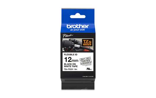 Brother TZe-FX231 - черен текст на бяла гъвгава лента, ширина 12mm 3