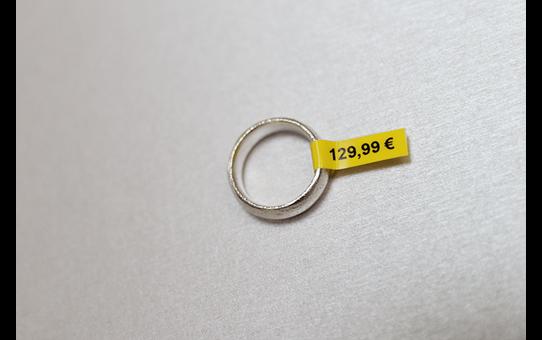 Casetă cu bandă de etichete originală Brother TZe-FX611 – negru pe galben flexibilă ID, lățime de 6mm 4