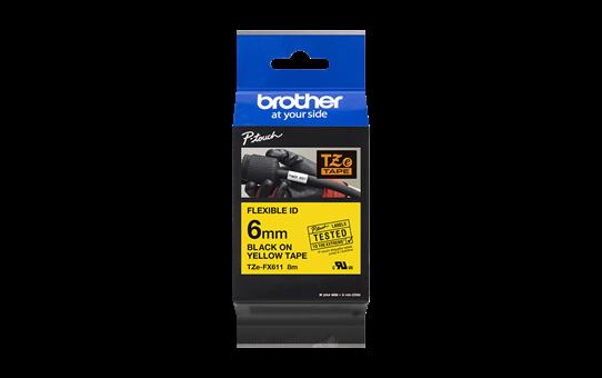 Brother TZe-FX611 - черен текст на жълта гъвгава лента, ширина 6mm 3