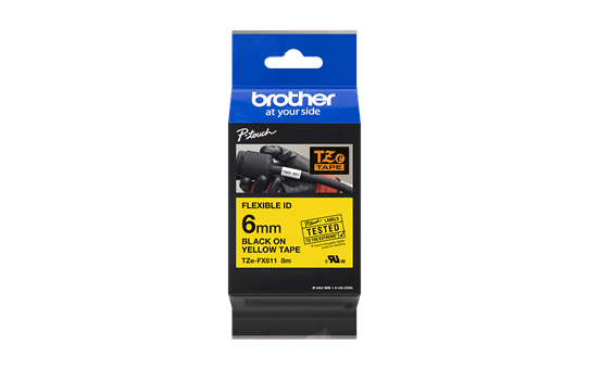 Brother TZeFX611: оригинальная кассета с лентой для печати наклеек черным на желтом фоне с универсальным ИД, ширина: 6 мм. 2