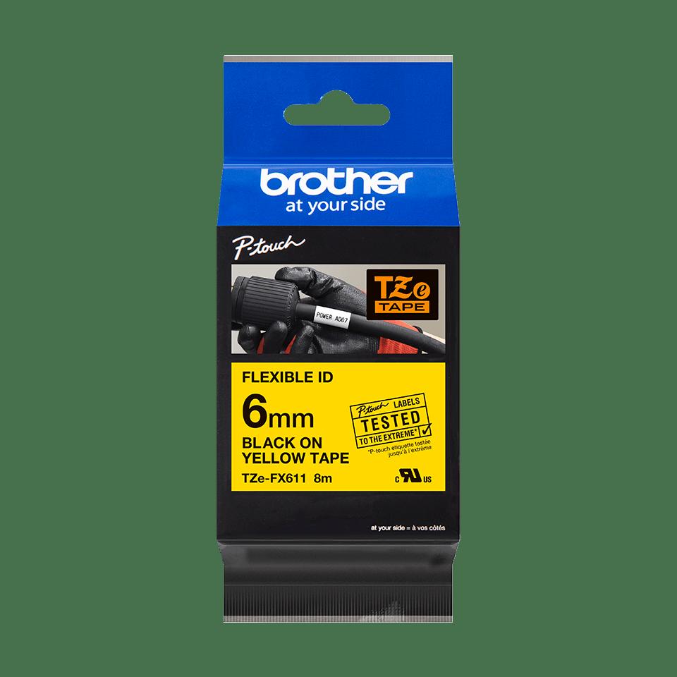 Brother TZe-FX611 Flexi-Tape – schwarz auf gelb 4