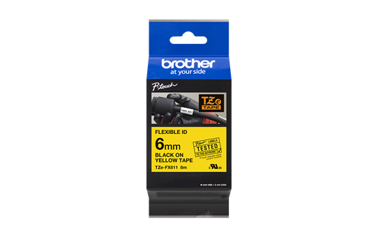 Genuine Brother TZe-FX611 Labelling Tape Cassette – Black on Yellow, 6mm wide 3