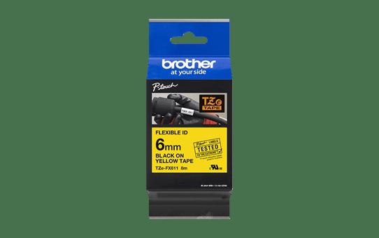 Original Brother TZeFX611 fleksibel ID merketape – sort på gul, 6 mm bred 3