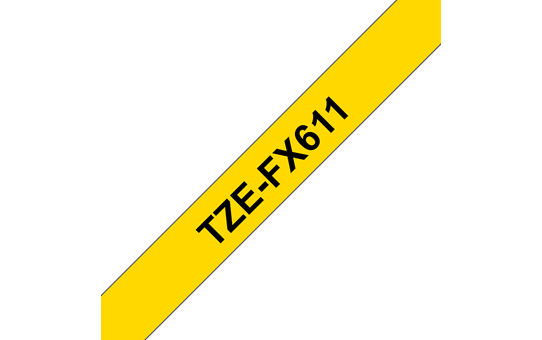 Genuine Brother TZe-FX611 Labelling Tape Cassette – Black on Yellow Flexible-ID, 6mm wide