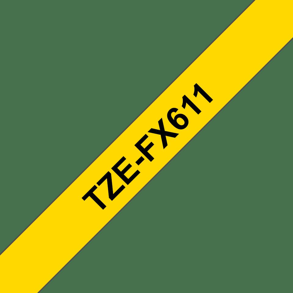 Eredeti Brother TZe-FX611 szalag  – Sárga alapon fekete, 6 mm széles