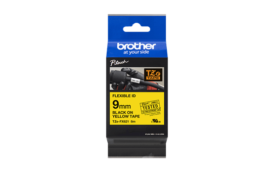 Genuine Brother TZe-FX621 Labelling Tape Cassette – Black on Yellow Flexible-ID, 9mm wide 3