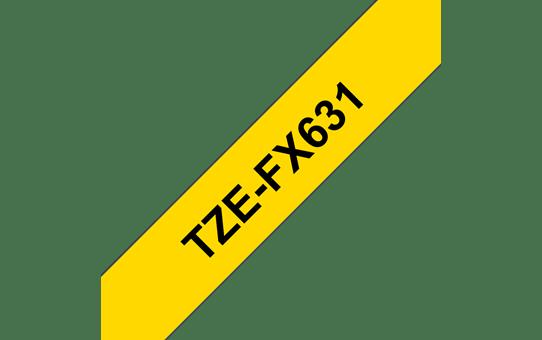 Cassette à ruban pour étiqueteuse TZe-FX631 Brother originale – Noir sur jaune, 12mm de large