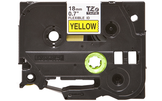 Original Brother TZeFX641 fleksibel ID merketape – sort på gul, 18 mm bred 2