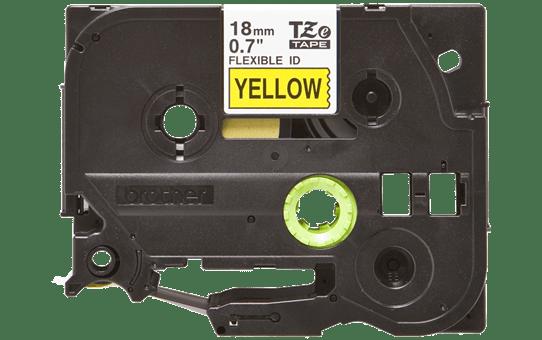 Oryginalna taśma identyfikacyjna Flexi ID TZe-FX641 firmy Brother – czarny nadruk na żółtym tle, 18mm szerokości 2