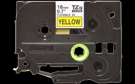Brother TZe-FX641 - черен текст на жълта гъвгава лента, ширина 18mm 2