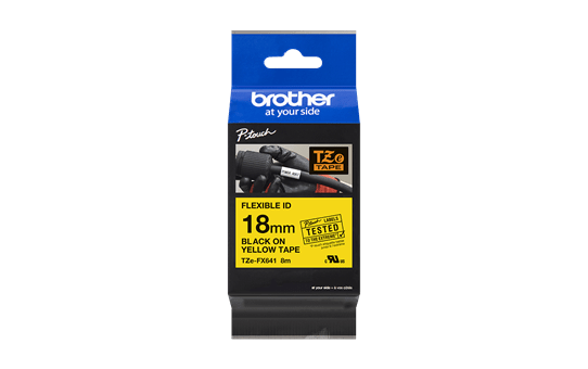 Original Brother TZeFX641 tape – sort på gul, 18 mm bred 3