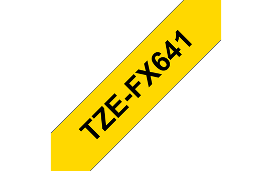 Original Brother TZeFX641 fleksibel ID merketape – sort på gul, 18 mm bred