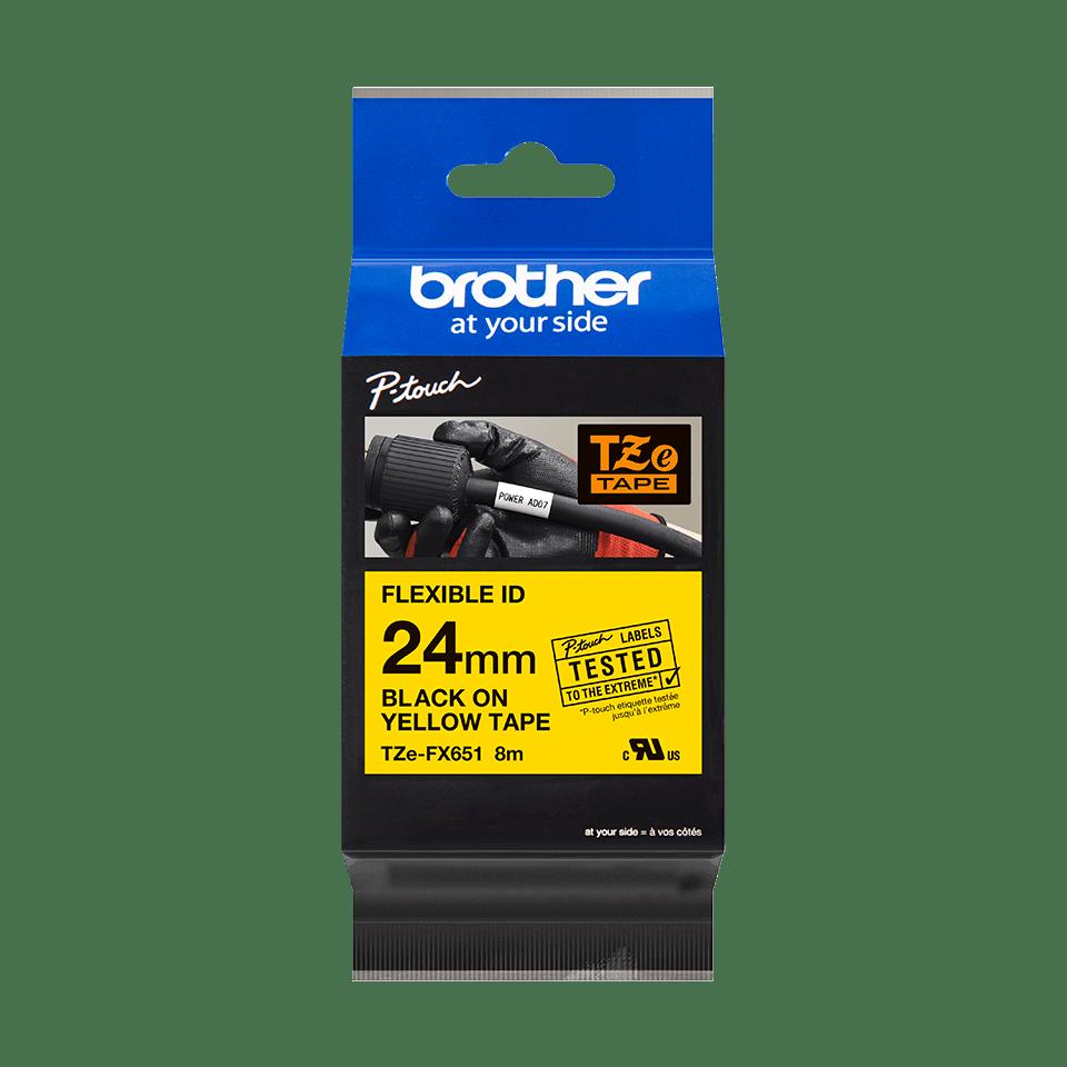 Eredeti Brother TZe-FX651 szalag sárga alapon fekete, 24mm széles 3