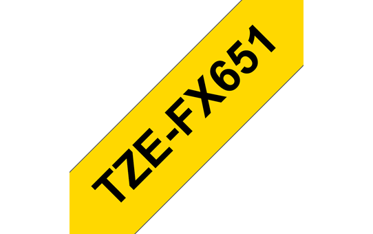 Genuine Brother TZe-FX651 Flexible ID Tape – Black on Yellow, 24mm wide