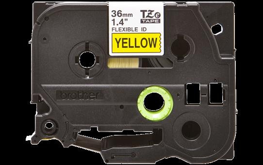 Oryginalna taśma identyfikacyjna Flexi ID TZe-FX661 firmy Brother – czarny nadruk na żółym tle, 36mm szerokości 2