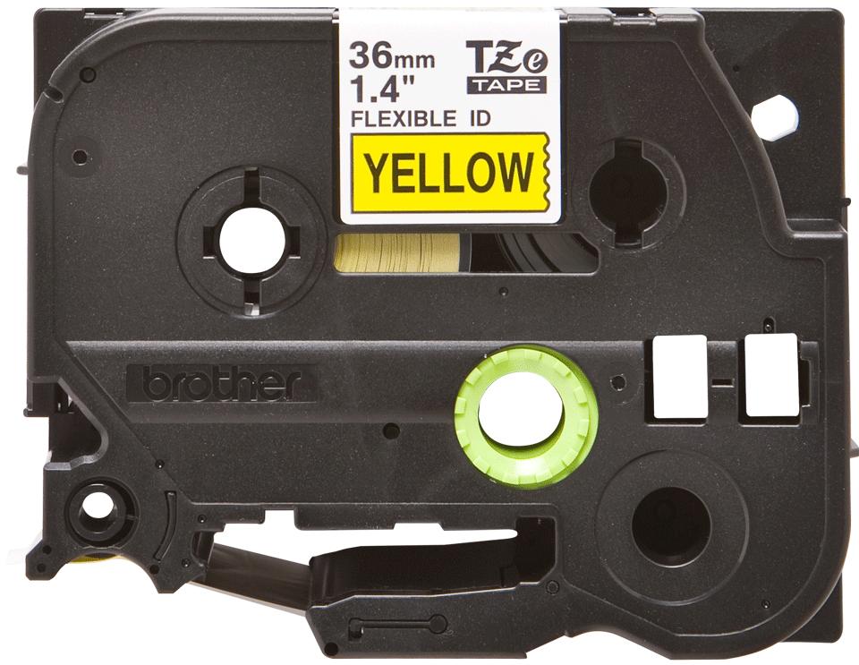 Casetă cu bandă de etichete originală Brother TZe-FX661 – negru pe galben flexibilă ID, lățime de 36mm 2