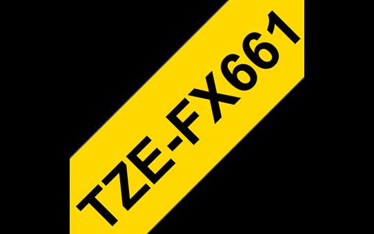 Original Brother TZeFX661 fleksibel ID merketape – sort på gul, 36 mm bred