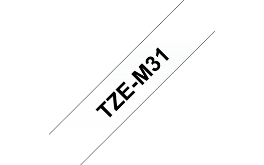 Genuine Brother TZe-M31 Labelling Tape Cassette – Black on Clear Matte Tape, 12mm wide