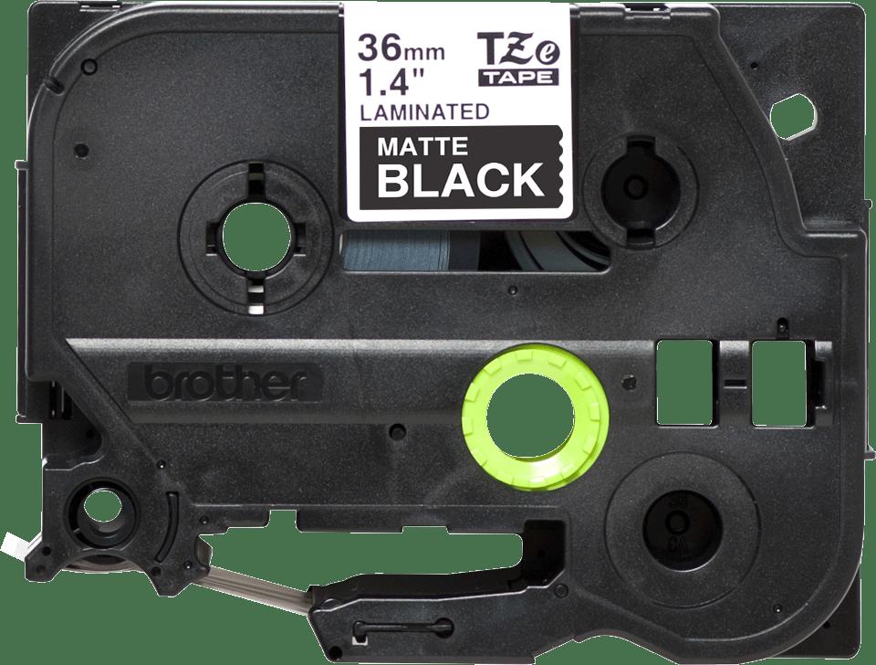 TZe-M365 mat gelamineerde labeltape wit op zwart – breedte 36 mm