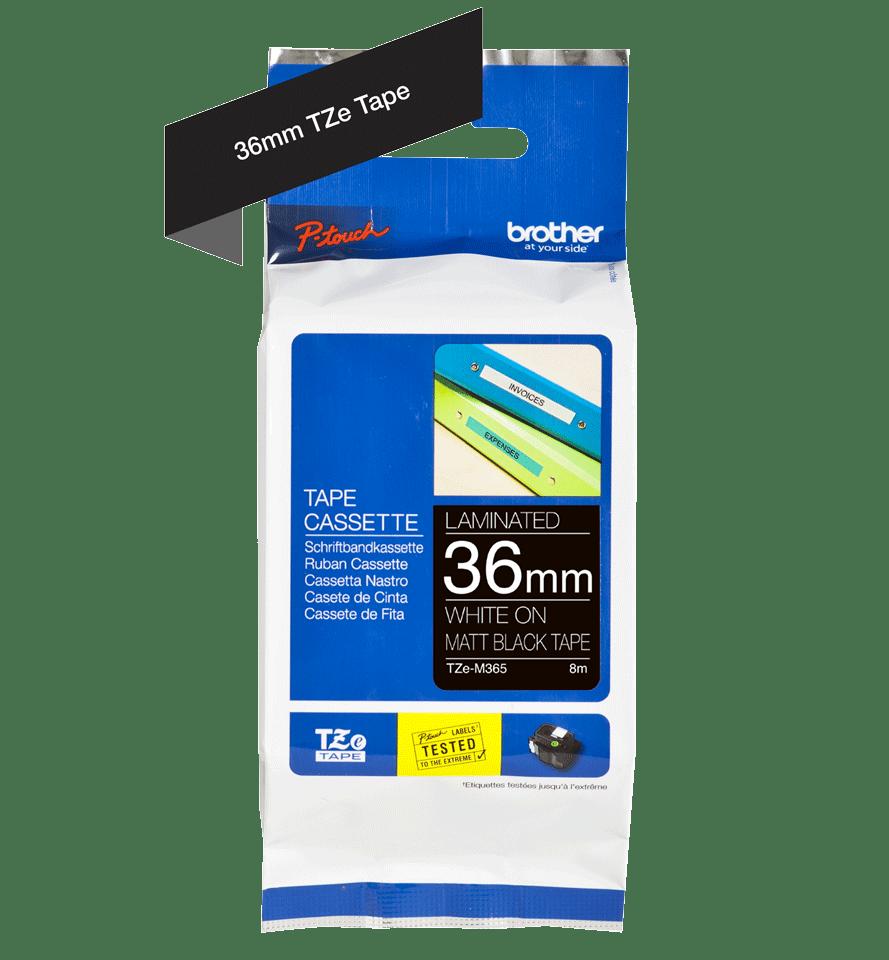 TZe-M365 mat gelamineerde labeltape wit op zwart – breedte 36 mm 2