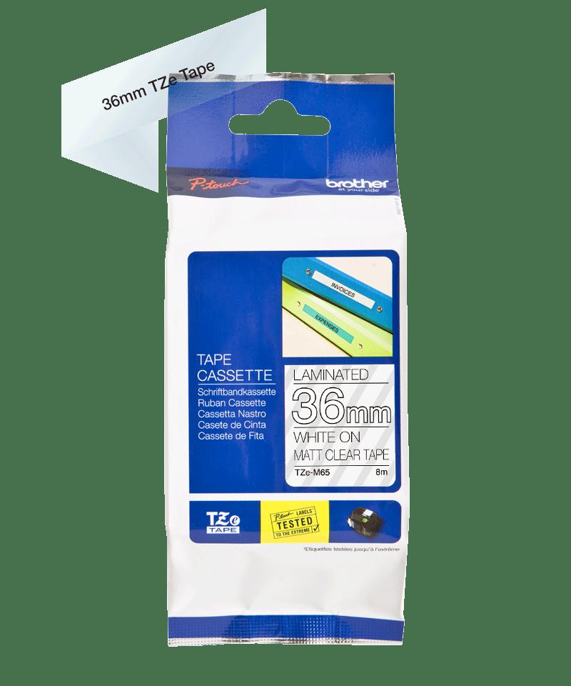TZe-M65 mat gelamineerde labeltape wit op transparant – breedte 36 mm