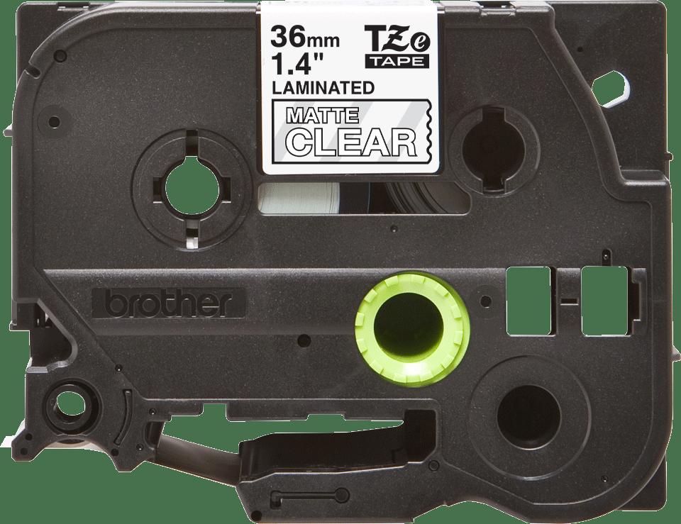 TZe-M65 mat gelamineerde labeltape wit op transparant – breedte 36 mm 2